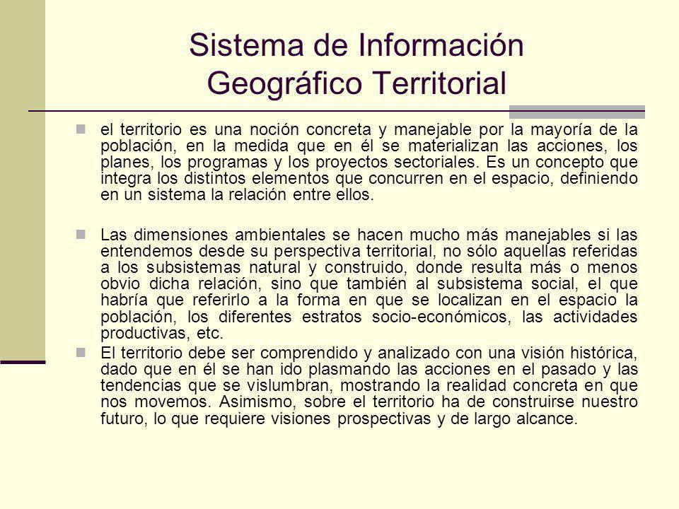 Sistema de Información Geográfico Territorial el territorio es una noción concreta y manejable por la mayoría de la población, en la medida que en él se materializan las acciones, los planes, los programas y los proyectos sectoriales.