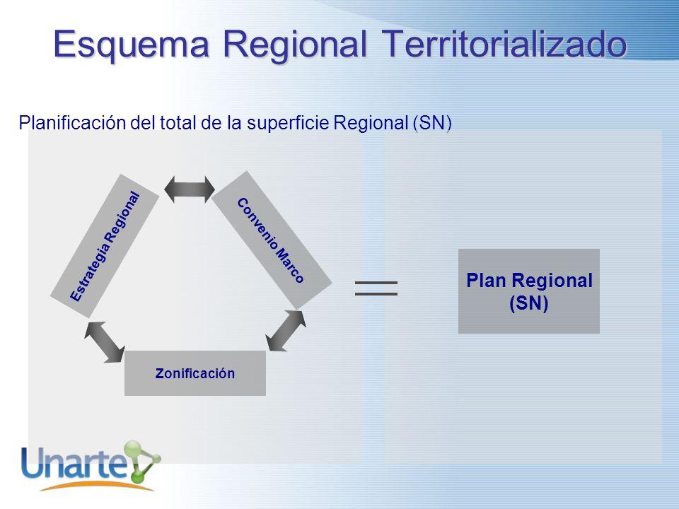 Esquema Regional Territorializado Estrategia Regional Convenio Marco Zonificación Planificación del total de la superficie Regional (SN) Plan Regional (SN)