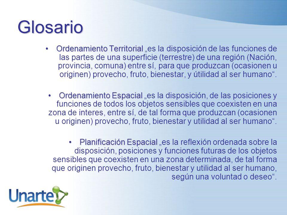 Glosario PlanificaciónPlanificación es la reflexión ordenada sobre un futuro deseado. OrdenamientoOrdenamiento es la disposición de las funciones de l