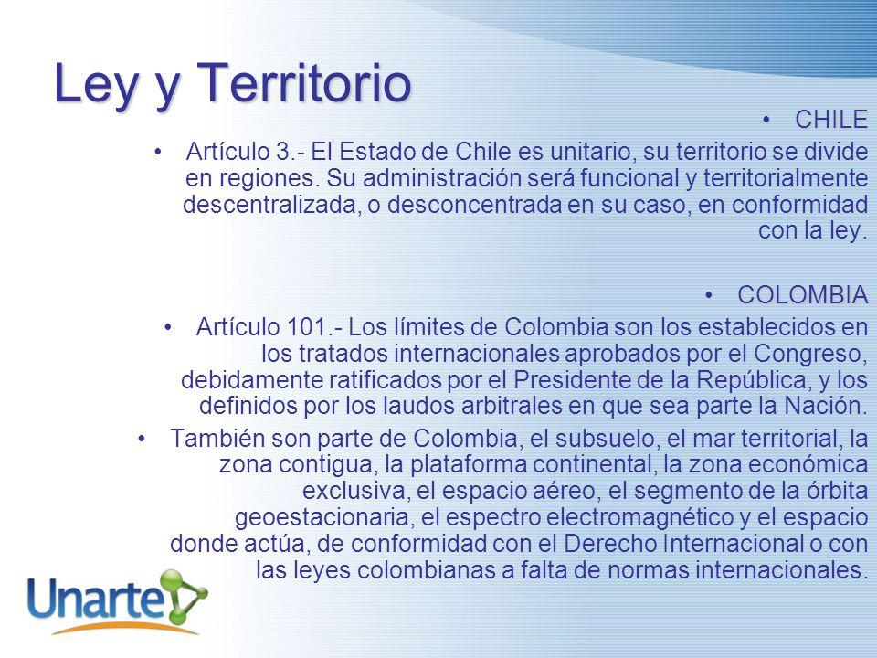 Ley y Territorio CHILECHILE Artículo 3.- El Estado de Chile es unitario, su territorio se divide en regiones.