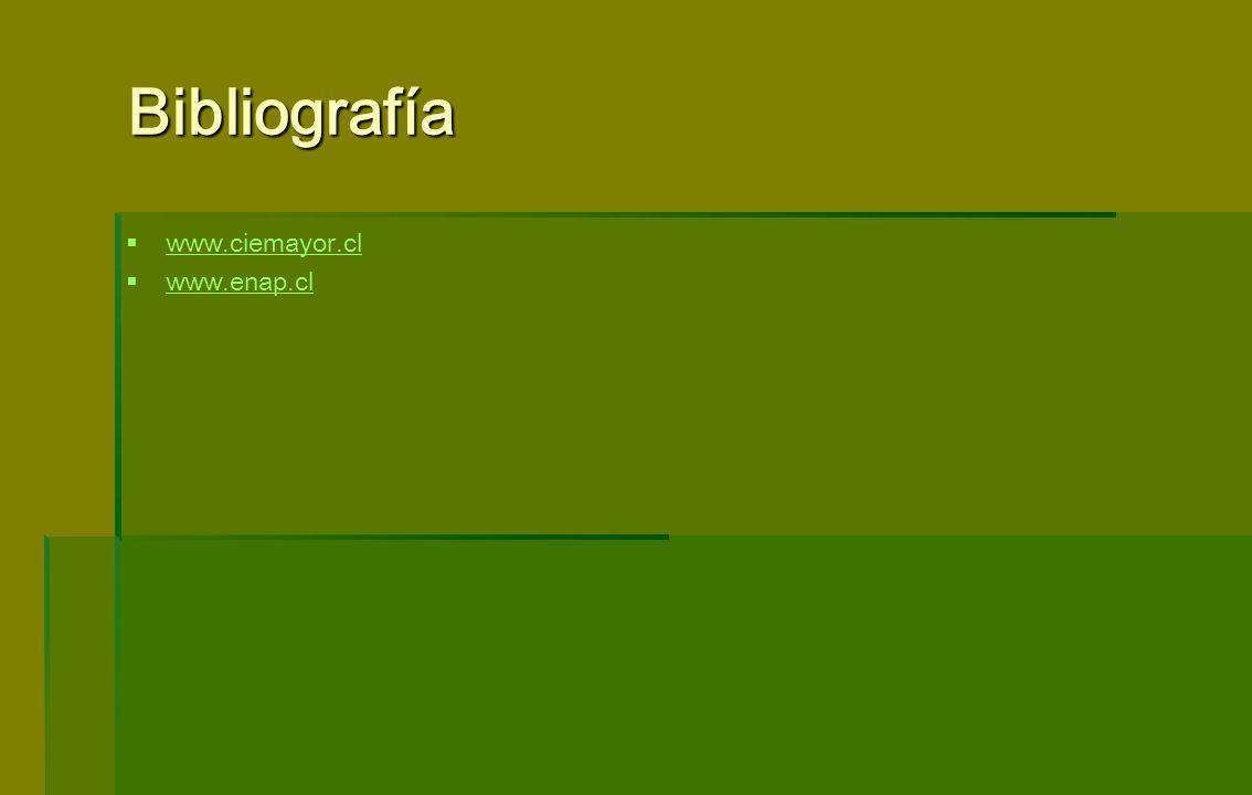 Bibliografía www.ciemayor.cl www.enap.cl