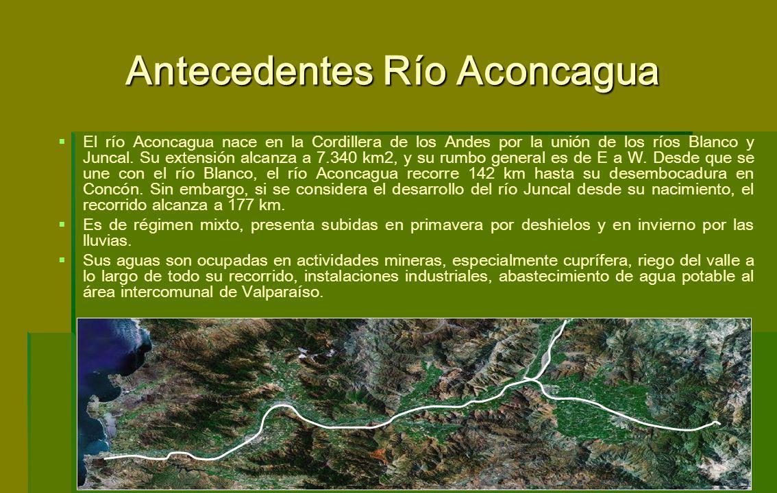 Antecedentes Río Aconcagua El río Aconcagua nace en la Cordillera de los Andes por la unión de los ríos Blanco y Juncal. Su extensión alcanza a 7.340