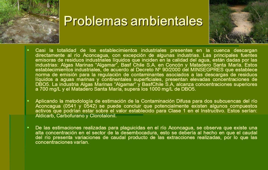 Problemas ambientales Casi la totalidad de los establecimientos industriales presentes en la cuenca descargan directamente al río Aconcagua, con excep