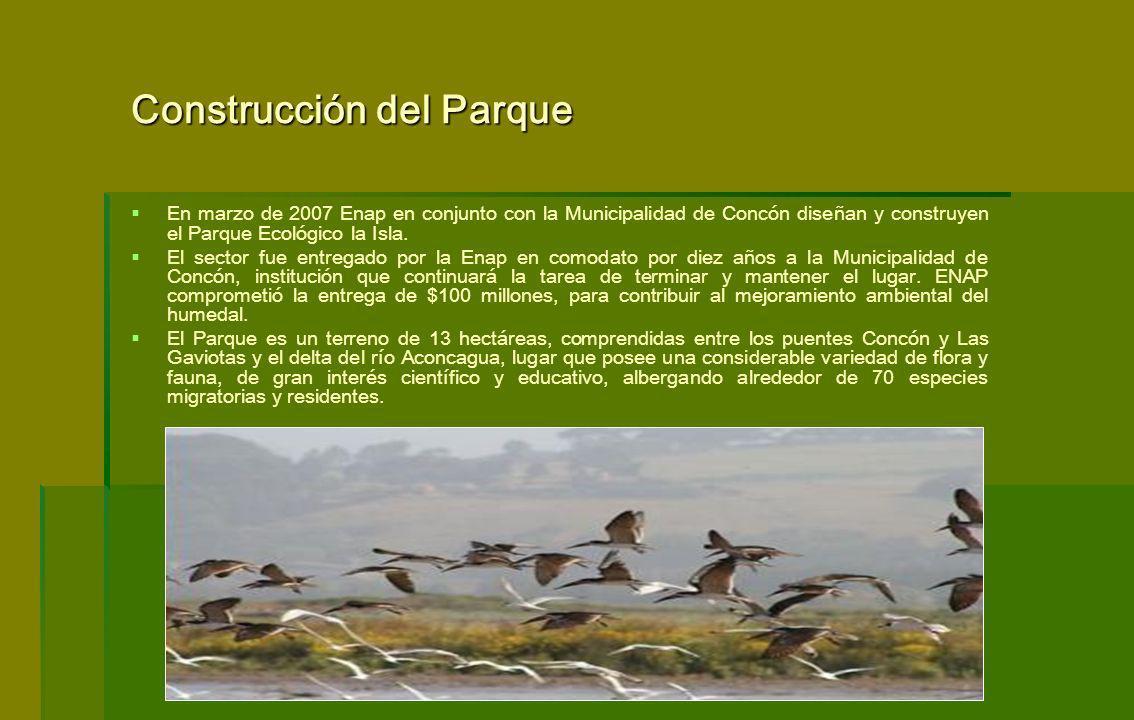 En marzo de 2007 Enap en conjunto con la Municipalidad de Concón diseñan y construyen el Parque Ecológico la Isla. El sector fue entregado por la Enap