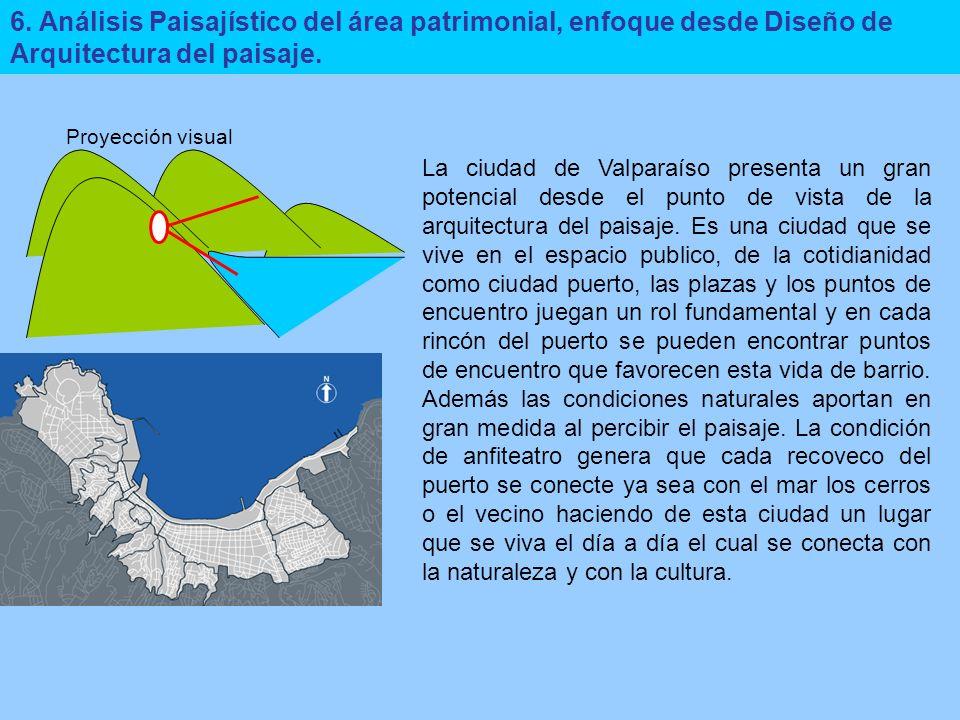 6. Análisis Paisajístico del área patrimonial, enfoque desde Diseño de Arquitectura del paisaje. La ciudad de Valparaíso presenta un gran potencial de
