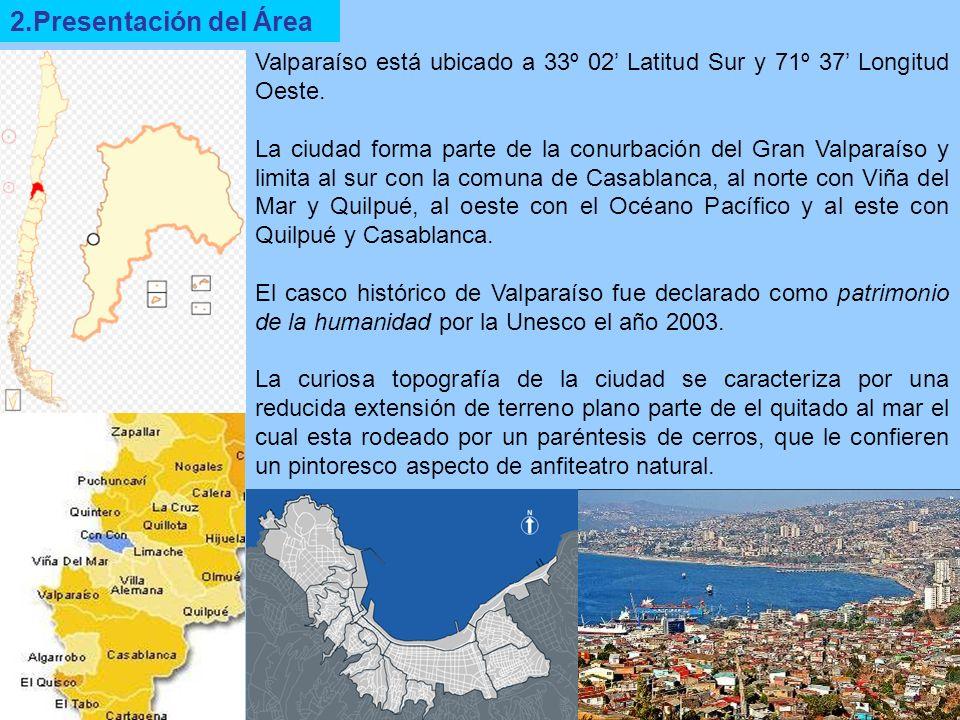 2.Presentación del Área Valparaíso está ubicado a 33º 02 Latitud Sur y 71º 37 Longitud Oeste. La ciudad forma parte de la conurbación del Gran Valpara