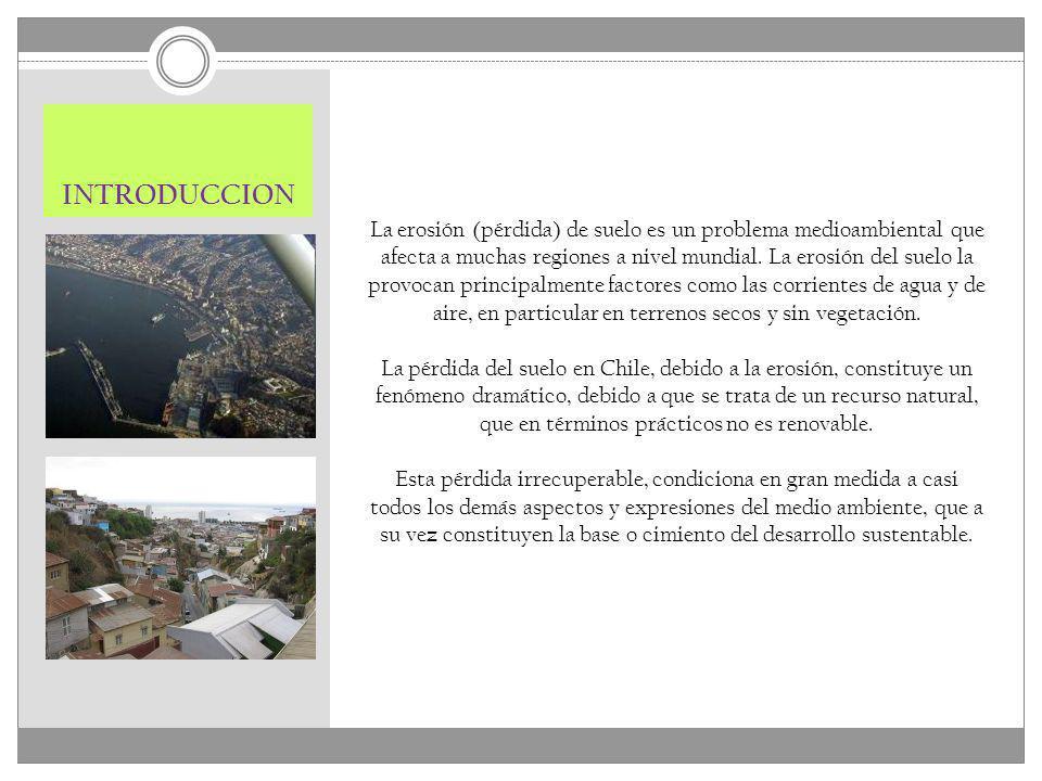 INTRODUCCION La erosión (pérdida) de suelo es un problema medioambiental que afecta a muchas regiones a nivel mundial. La erosión del suelo la provoca