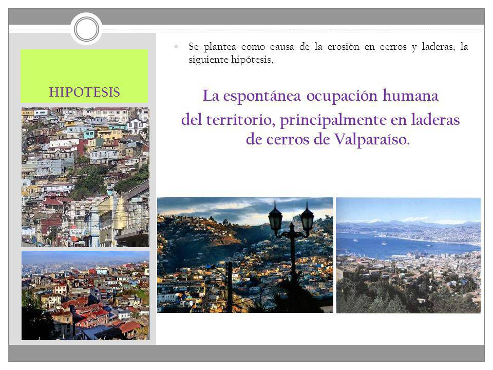 HIPOTESIS Se plantea como causa de la erosión en cerros y laderas, la siguiente hipótesis, La espontánea ocupación humana del territorio, principalmen