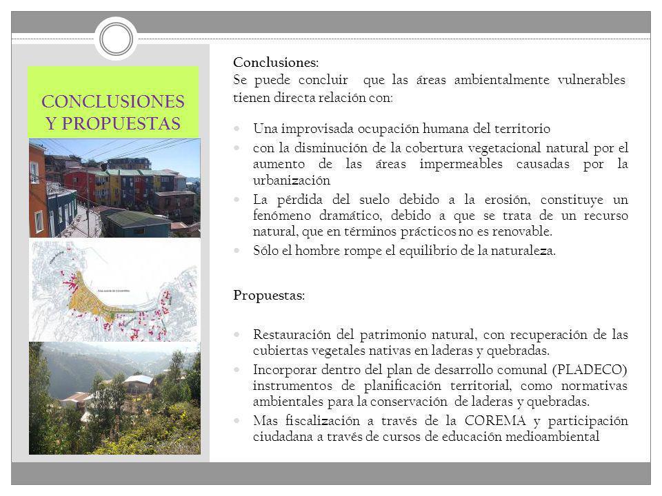 CONCLUSIONES Y PROPUESTAS Conclusiones: Se puede concluir que las áreas ambientalmente vulnerables tienen directa relación con: Una improvisada ocupac
