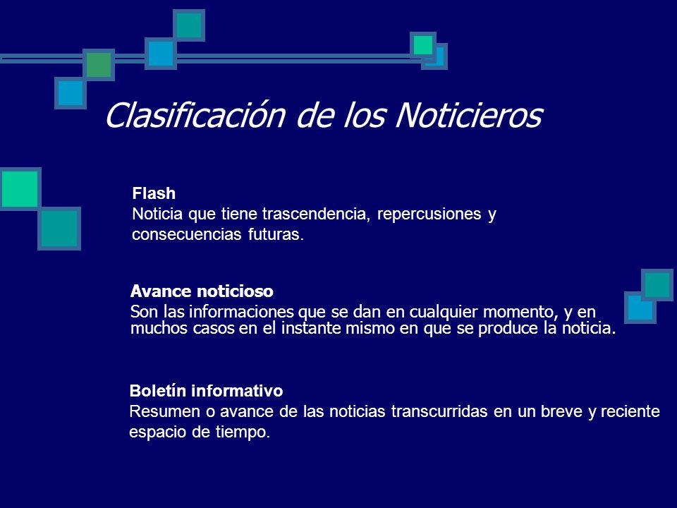 Clasificación de los Noticieros Flash Noticia que tiene trascendencia, repercusiones y consecuencias futuras. Avance noticioso Son las informaciones q