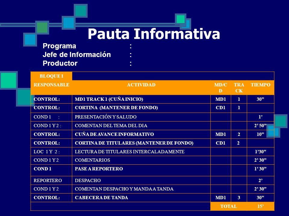 Pauta Informativa Programa: Jefe de Información: Productor: BLOQUE I RESPONSABLEACTIVIDADMD/C D TRA CK TIEMPO CONTROL:MD1 TRACK 1 (CUÑA INICIO)MD1130