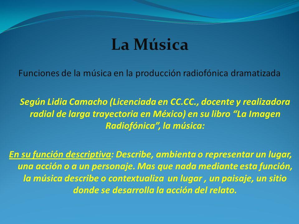 Funciones de la música en la producción radiofónica dramatizada Según Lidia Camacho (Licenciada en CC.CC., docente y realizadora radial de larga traye
