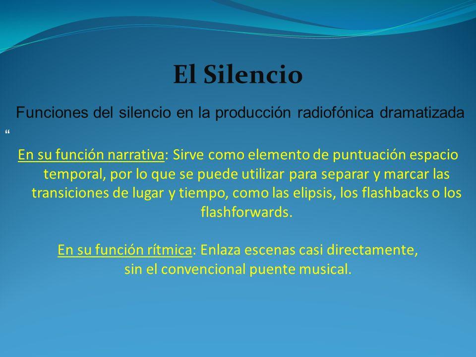 Funciones del silencio en la producción radiofónica dramatizada En su función narrativa: Sirve como elemento de puntuación espacio temporal, por lo qu