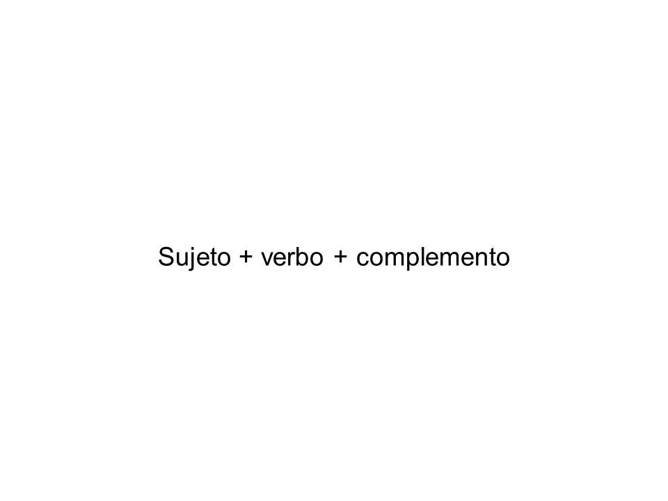 Sujeto + verbo + complemento