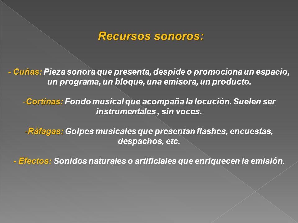 Recursos sonoros: Recursos sonoros: - Cuñas: - Cuñas: Pieza sonora que presenta, despide o promociona un espacio, un programa, un bloque, una emisora,