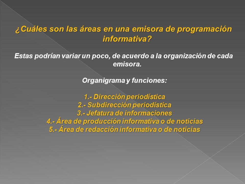 Organigrama y funciones: 1.- Dirección periodística: 1.- Dirección periodística: El responsable de este sector y su equipo cumplen una tarea trascendental para el medio.