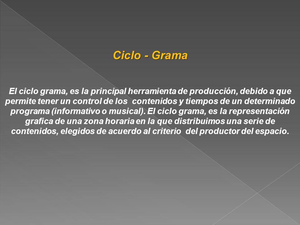 Ciclo - Grama El ciclo grama, es la principal herramienta de producción, debido a que permite tener un control de los contenidos y tiempos de un deter