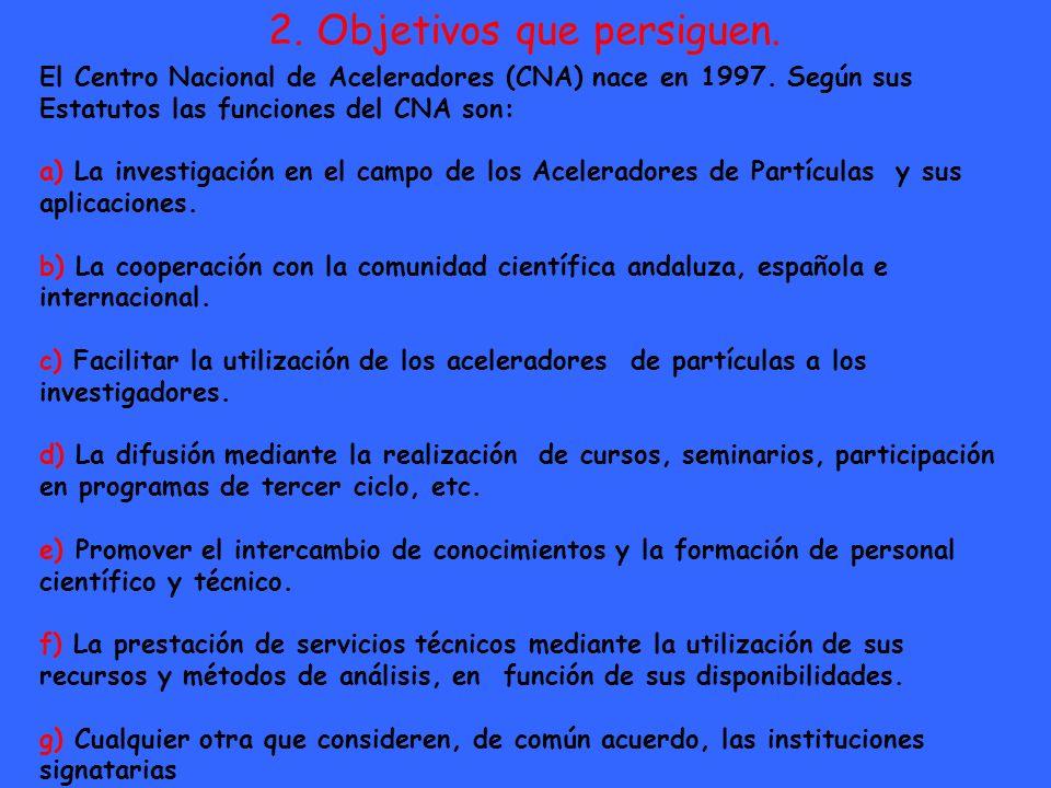2. Objetivos que persiguen. El Centro Nacional de Aceleradores (CNA) nace en 1997. Según sus Estatutos las funciones del CNA son: a) La investigación
