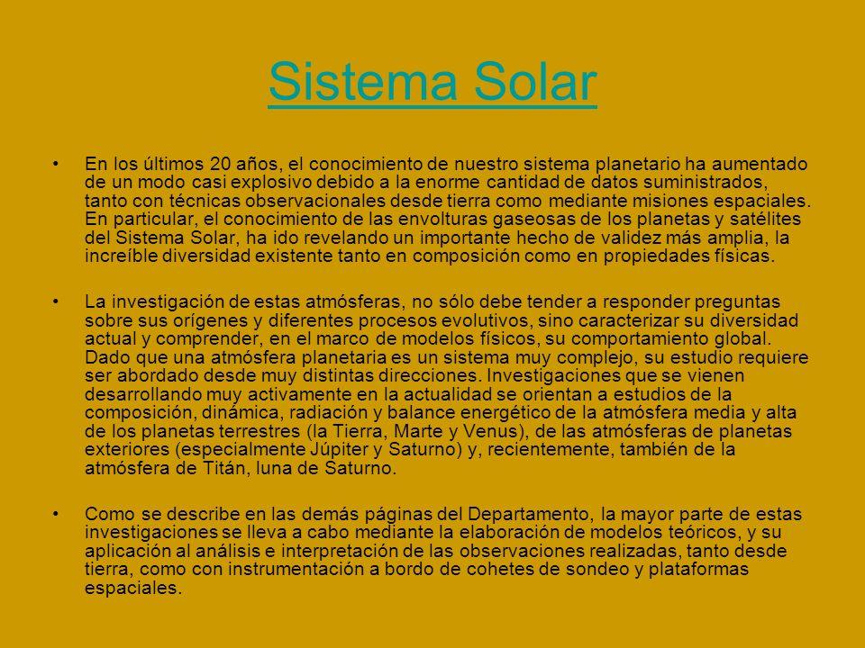 Física Estelar El objeto de estudio de este departamento es las estrellas.