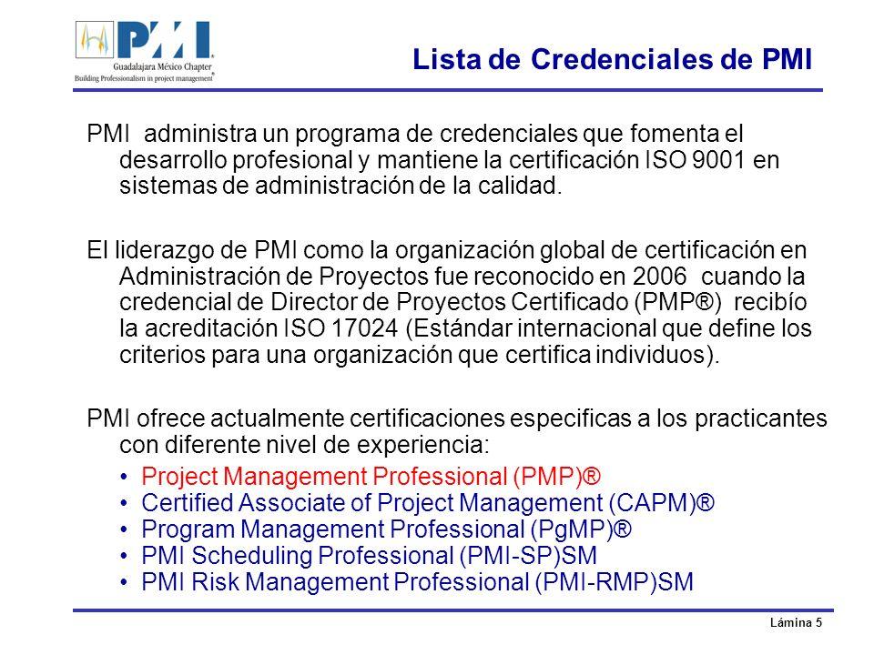 Lámina 6 Lista de Credenciales de PMI