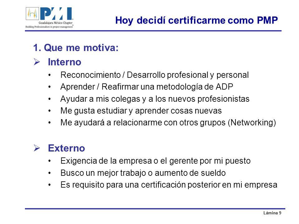 Lámina 20 Guía de estudio y plan de certificación 1.El plan 2.Libros, cursos y tips 3.El examen 4.Resultados y certificado 5.Recertificación