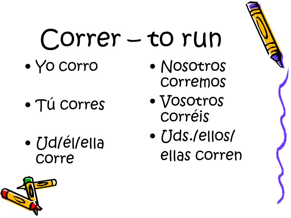 Correr – to run Yo corro Tú corres Ud/él/ella corre Nosotros corremos Vosotros corréis Uds./ellos/ ellas corren