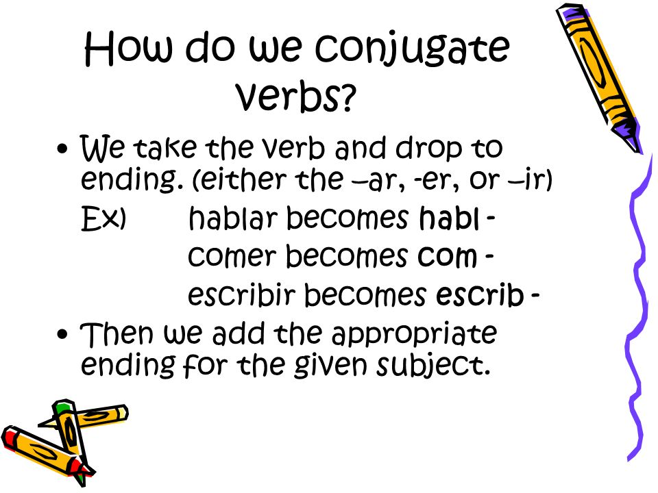 How do we conjugate verbs? We take the verb and drop to ending. (either the –ar, -er, or –ir) Ex) hablar becomes habl - comer becomes com - escribir b