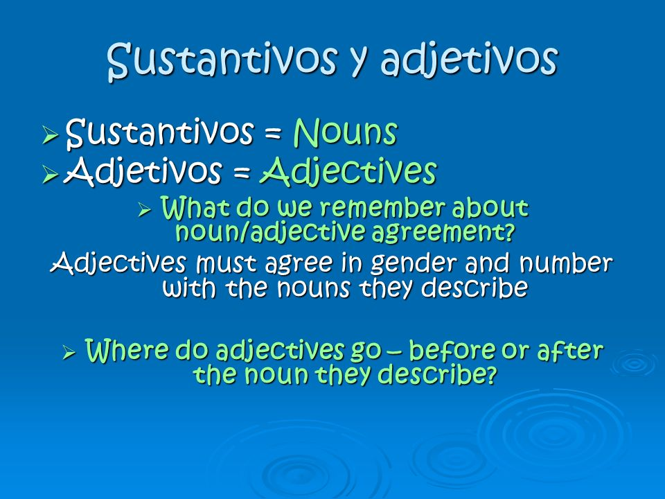 Sustantivos y adjetivos Sustantivos = Nouns Sustantivos = Nouns Adjetivos = Adjectives Adjetivos = Adjectives What do we remember about noun/adjective