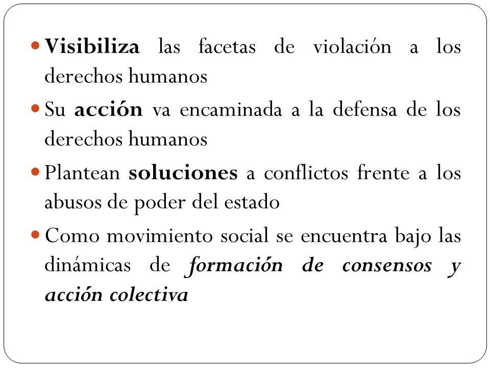 Visibiliza las facetas de violación a los derechos humanos Su acción va encaminada a la defensa de los derechos humanos Plantean soluciones a conflict