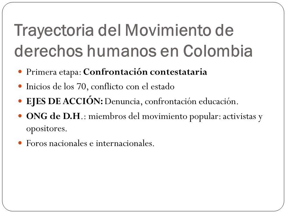 Trayectoria del Movimiento de derechos humanos en Colombia Primera etapa: Confrontación contestataria Inicios de los 70, conflicto con el estado EJES