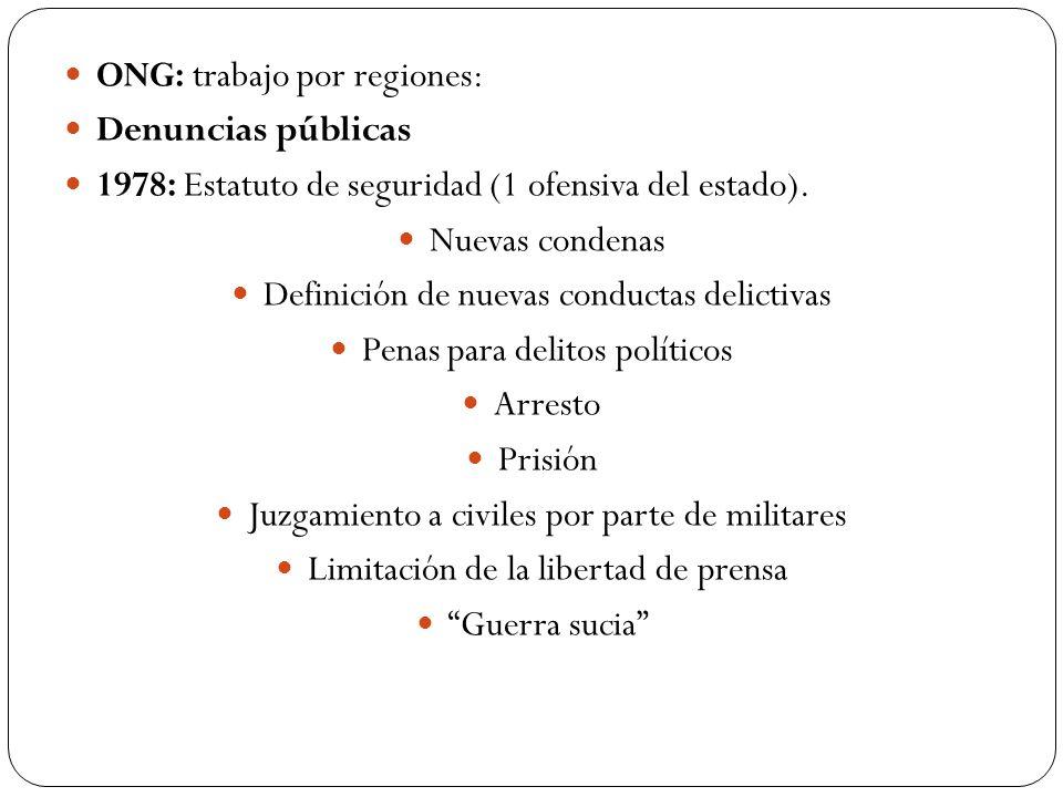 ONG: trabajo por regiones: Denuncias públicas 1978: Estatuto de seguridad (1 ofensiva del estado). Nuevas condenas Definición de nuevas conductas deli