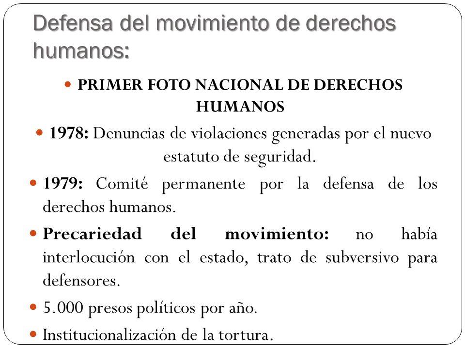Defensa del movimiento de derechos humanos: PRIMER FOTO NACIONAL DE DERECHOS HUMANOS 1978: Denuncias de violaciones generadas por el nuevo estatuto de