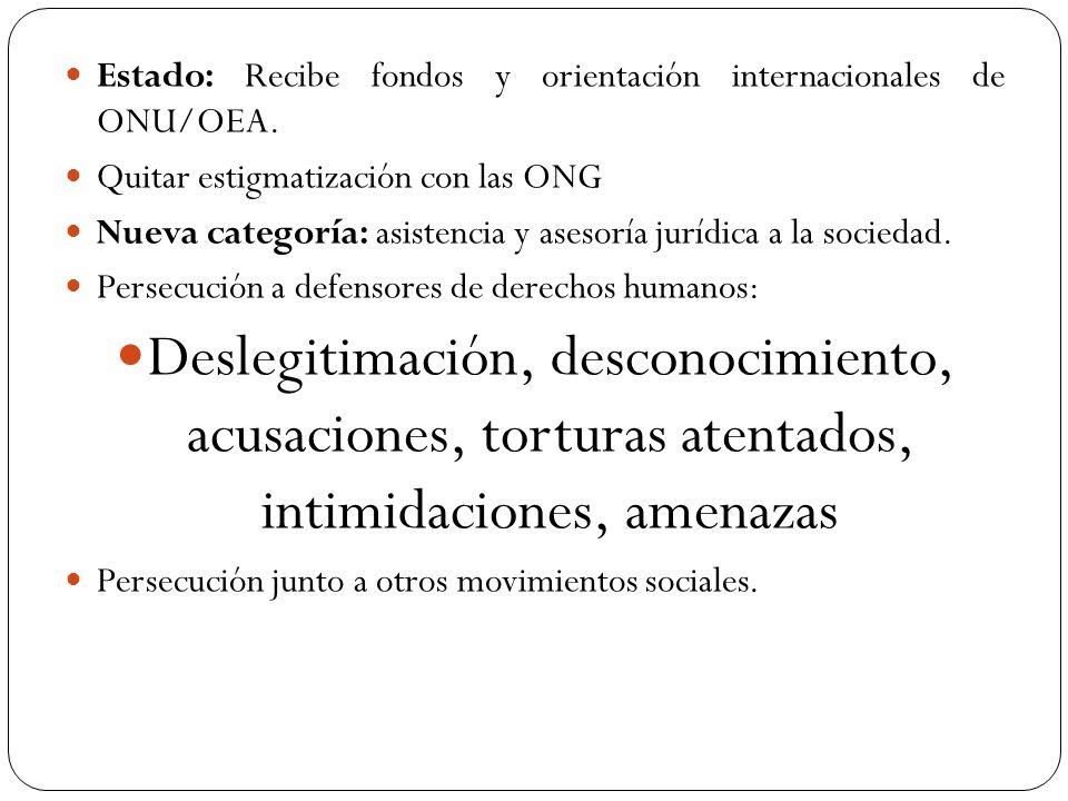 Estado: Recibe fondos y orientación internacionales de ONU/OEA. Quitar estigmatización con las ONG Nueva categoría: asistencia y asesoría jurídica a l