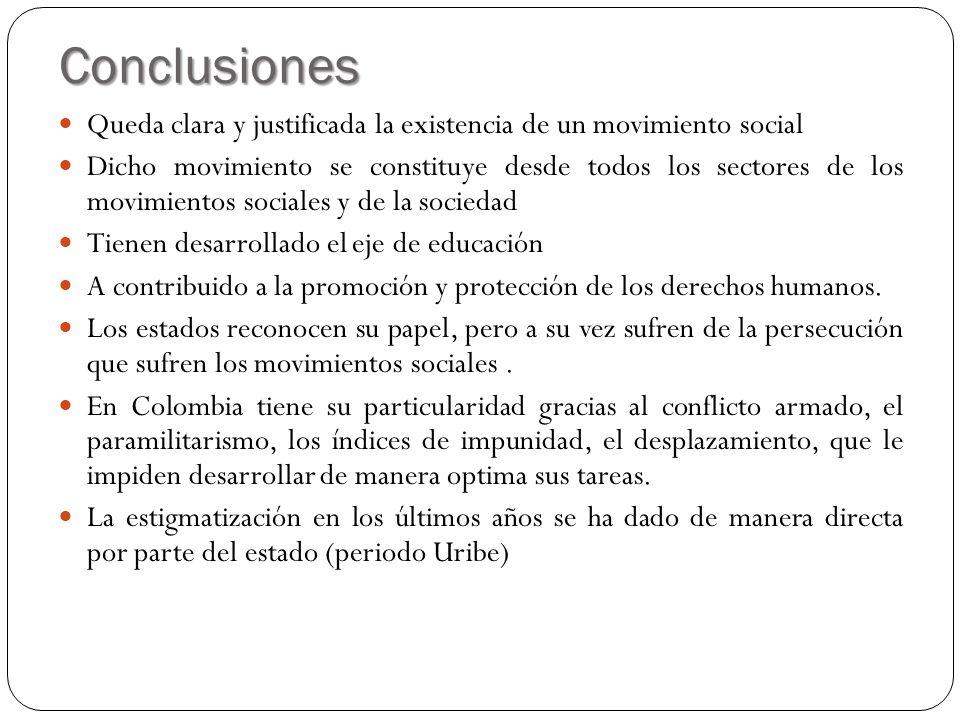 Conclusiones Queda clara y justificada la existencia de un movimiento social Dicho movimiento se constituye desde todos los sectores de los movimiento
