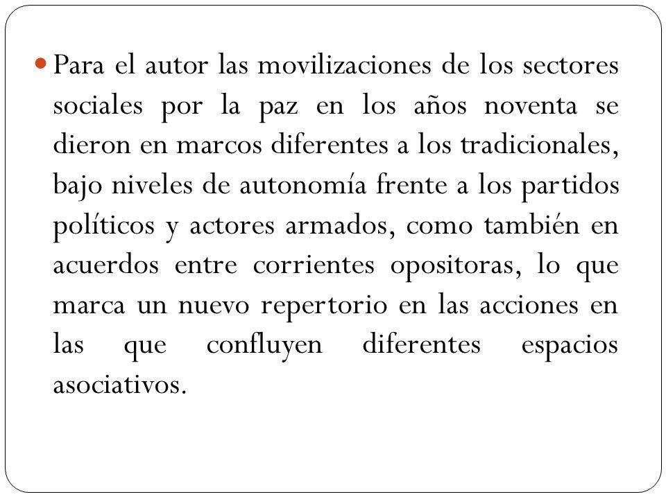 Para el autor las movilizaciones de los sectores sociales por la paz en los años noventa se dieron en marcos diferentes a los tradicionales, bajo nive