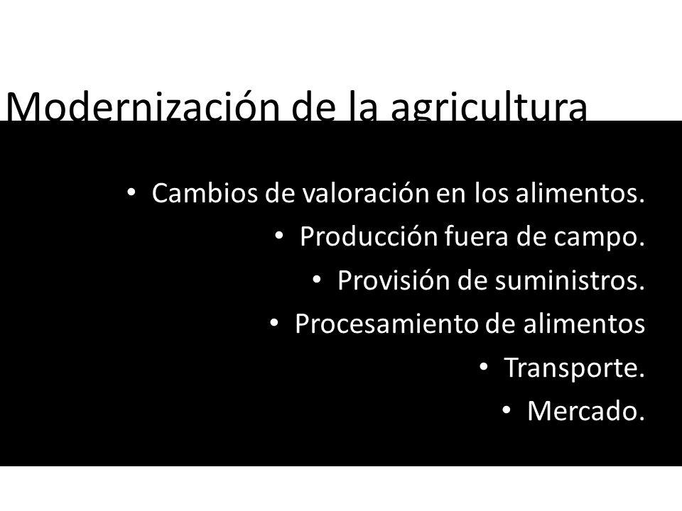 Modernización de la agricultura Cambios de valoración en los alimentos. Producción fuera de campo. Provisión de suministros. Procesamiento de alimento