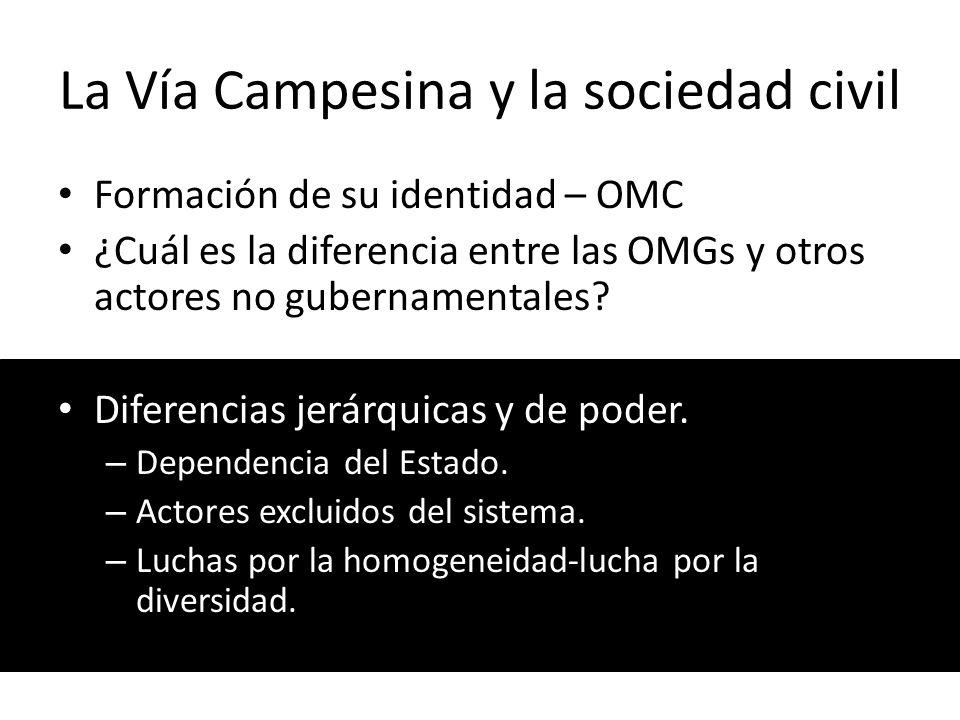 La Vía Campesina y la sociedad civil Formación de su identidad – OMC ¿Cuál es la diferencia entre las OMGs y otros actores no gubernamentales? Diferen