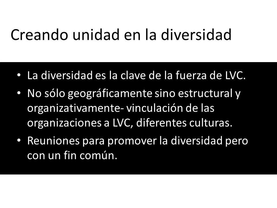 Creando unidad en la diversidad La diversidad es la clave de la fuerza de LVC. No sólo geográficamente sino estructural y organizativamente- vinculaci