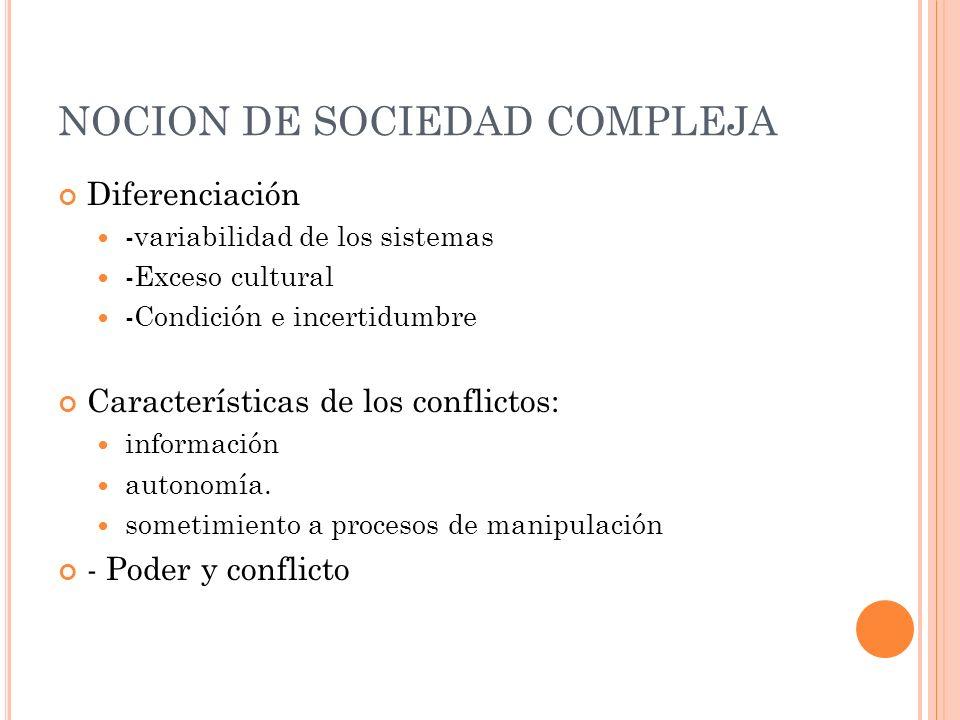 NOCION DE SOCIEDAD COMPLEJA Diferenciación -variabilidad de los sistemas -Exceso cultural -Condición e incertidumbre Características de los conflictos