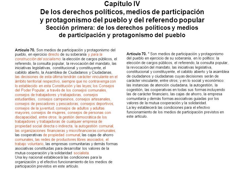 Capítulo IV De los derechos políticos, medios de participación y protagonismo del pueblo y del referendo popular Sección primera: de los derechos polí