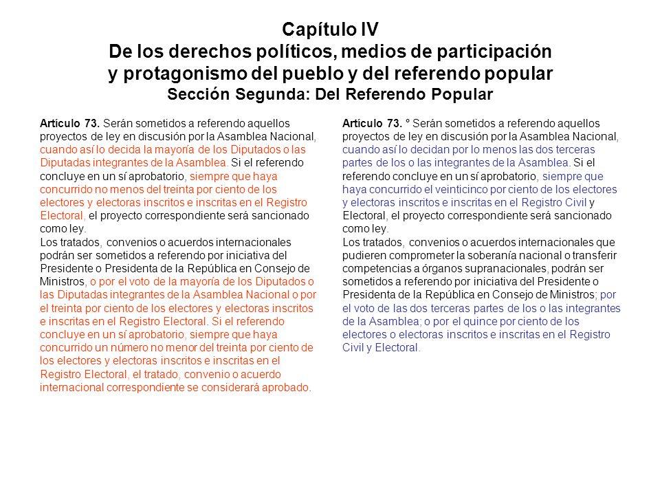 Capítulo IV De los derechos políticos, medios de participación y protagonismo del pueblo y del referendo popular Sección Segunda: Del Referendo Popula