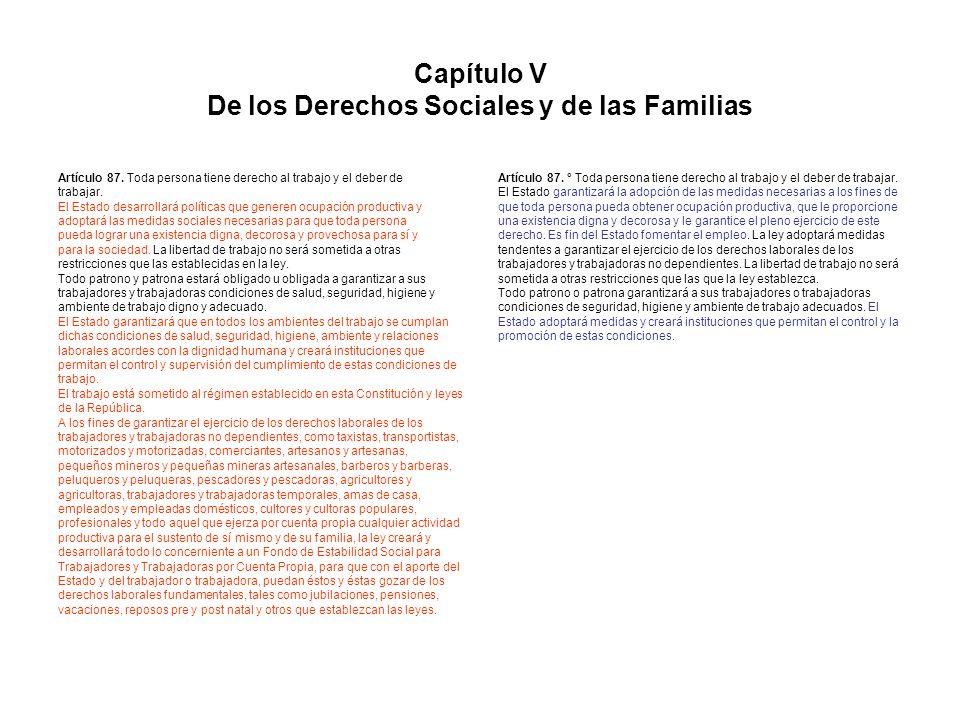 Capítulo V De los Derechos Sociales y de las Familias Artículo 87. Toda persona tiene derecho al trabajo y el deber de trabajar. El Estado desarrollar