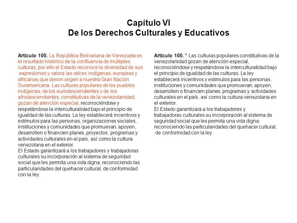Capítulo VI De los Derechos Culturales y Educativos Artículo 100. La República Bolivariana de Venezuela es el resultado histórico de la confluencia de