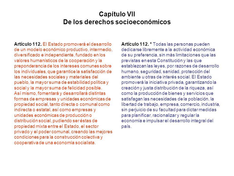Capítulo VII De los derechos socioeconómicos Artículo 112. El Estado promoverá el desarrollo de un modelo económico productivo, intermedio, diversific