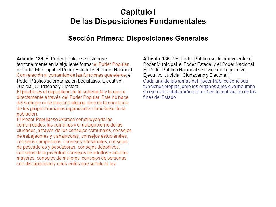 Capítulo I De las Disposiciones Fundamentales Sección Primera: Disposiciones Generales Artículo 136. El Poder Público se distribuye territorialmente e