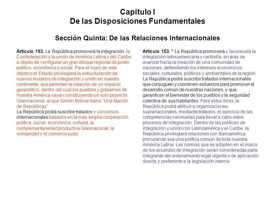 Capítulo I De las Disposiciones Fundamentales Sección Quinta: De las Relaciones Internacionales Artículo 153. La República promoverá la integración, l