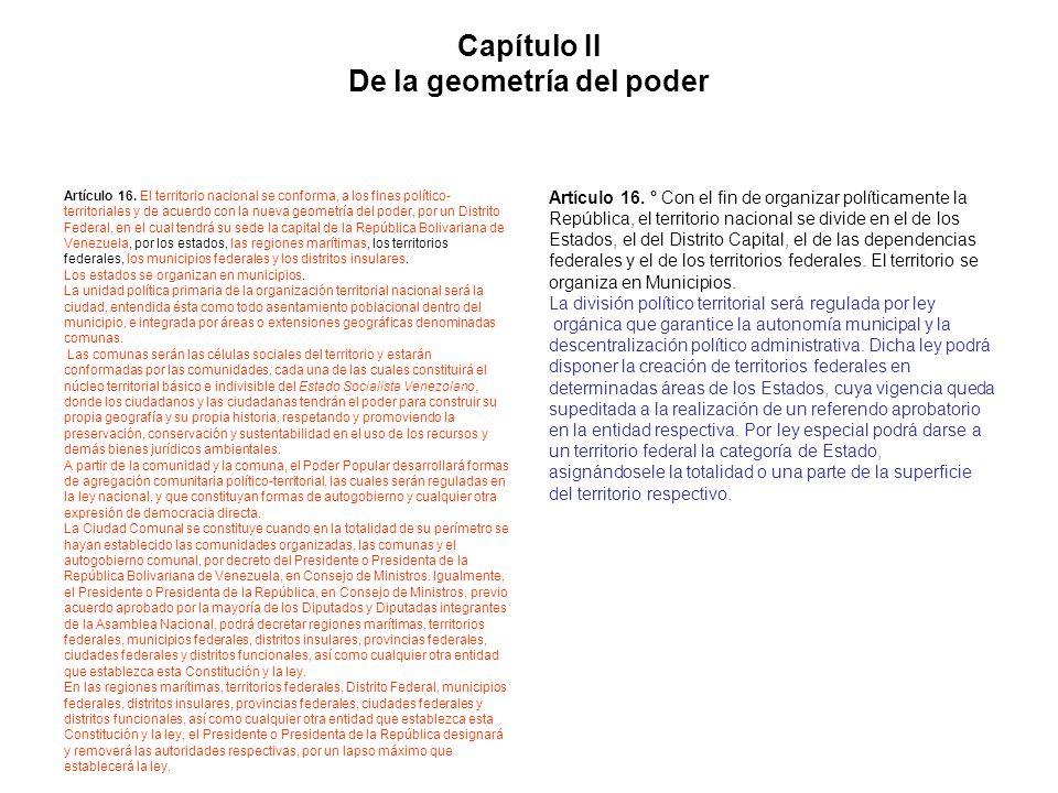Capítulo II De la geometría del poder Artículo 16. El territorio nacional se conforma, a los fines político- territoriales y de acuerdo con la nueva g