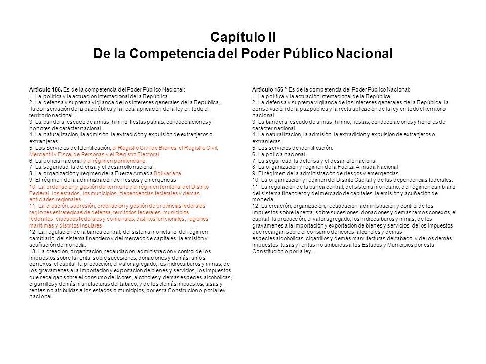 Capítulo II De la Competencia del Poder Público Nacional Artículo 156. Es de la competencia del Poder Público Nacional: 1. La política y la actuación