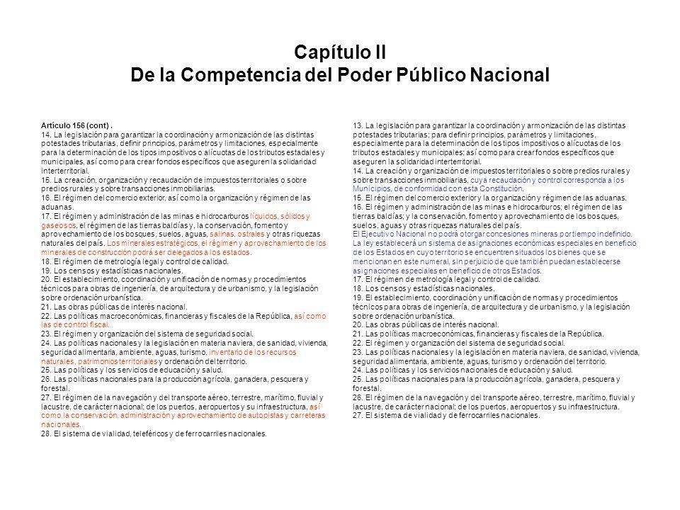 Capítulo II De la Competencia del Poder Público Nacional Artículo 156 (cont). 14. La legislación para garantizar la coordinación y armonización de las