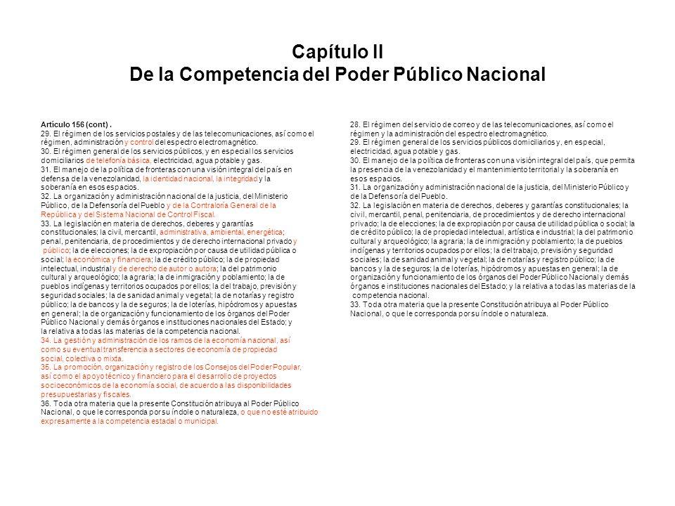 Capítulo II De la Competencia del Poder Público Nacional Artículo 156 (cont). 29. El régimen de los servicios postales y de las telecomunicaciones, as